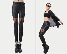 Wholesale 2013 Fashion Women s Leather Leggings for Women Pants Leather Pants leggins Lace Leggings women autumn Black lace leggings
