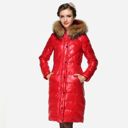 hot sale manteau femme long parkas women winter slim casual solid color jacket white duck down with real genuine fur collar coat - Manteau Femme Color
