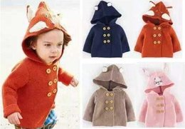 Wholesale Hot Brand Mini boden Children s Sweater Hooded Coats Girls Boys Sweaters Cartoon Animal Long Sleeve Cardigans Tops Coat With Cap Hat A3645