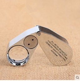 Wholesale Full Metal jewelry X25MM with LED magnifying Magnifier glass LED Currency Detecting Jewelry Identifying Type