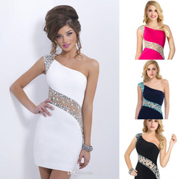 Wholesale cheap Hot fashion pure white sheath short mini party prom cocktail dresses one shoulder sequins crystals backless evening gowns