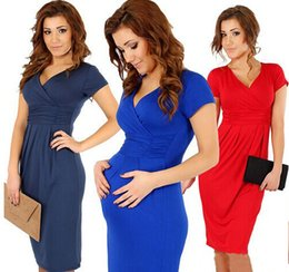 Wholesale Maternity Dresses summer tunic sexy short sleeve Package buttocks v neck Stretchy Pregnant Dress Jersey Dresses Vestidos maternity clothes