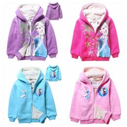 Wholesale Hot Selling Frozen Elsa Anna Zipped Hoodie Jacket Winter outerwear frozen kids winter coats