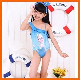 Wholesale frozen swimwear baby swimwear cartoon anna elsa one shoulder girls bathing suit pink swimsuit girls princess summer clothing