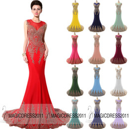 Wholesale 2016 Elegant Long Prom Evening Dresses IN STOCK Mermaid Crew Appliques Red Black White Dark Green Fuchsia Mint Long Formal Pageant Gowns