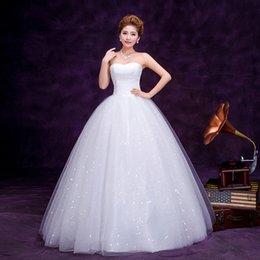 Wholesale Brand New women s Strapless Ball Gown organza wedding dress formal dress lace floor length elgant dress white Drop Shipping