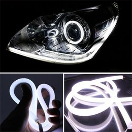 online shopping 2x cm LED Headlight Strip Daytime Running Light With Turn Signal Car Angel Eye DRL Head Lamp Switchback Tube Style Decorative