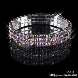 Wholesale 2015 New HOT Selling Super Beautiful Row CoLourful Multi stone Crystal Bangle Wedding Bracelets Bridal Jewelry Christmas Party Gift