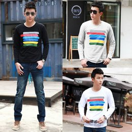 Wholesale Fashion Men T shirt t shirt mens Color Stripes tshirt Crew Neck Long Sleeve Tops Tee Shirt White G4025