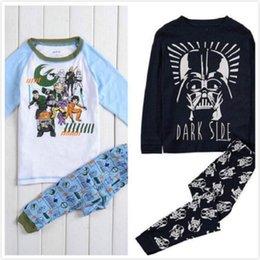 30 piezas 2 estilos Nuevo para niños 100% Algodón bebé Pijamas para niños de dibujos animados de Star War de manga larga Top + Pants 2 partes de bebé ropa de noche ocasional