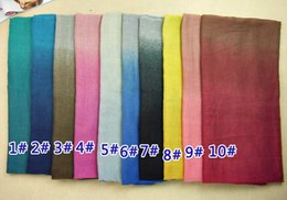 Wholesale ombre viscose gradient design shawls cotton voile spring wrap muslim design head long scarves scarf