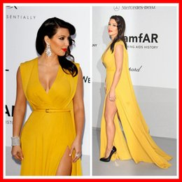 Wholesale Sexy Side Slit Floor Length Chiffon Women Evening Dresses Kim Kardashian Celebrity Dresses