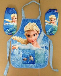 Wholesale Frozen ELSA ANNA Printe Kids Childrens Cartoon Cooking Art Painting Smock Apron Set Sleeveless Aprons Oversleeves Pink BLUE bo6912