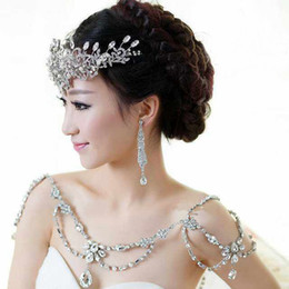 Wholesale Fashion Charm Wedding Bridal Bridesmaid Ladies Flowers Crystal Rhinestone Shoulder Full Body Chain Necklace Jewelry Set Dress Wrap Jacket