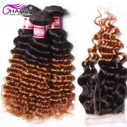 2017 ombre weaves closure 3 Bundles ombre curly hair weaves with closure 1B 30# 2 tone peruvian virgin hair deep curl unprocessed curly peruvian hair with top closure ombre weaves closure for sale