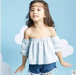 Wholesale 2016 New Cute Girls Tee Shirt Korean Striep Fashion Backless Tops Summer Cute Children Ruffle Shirt Girl Clothes