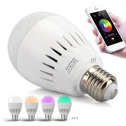 US-Lager! 5W E27 Bluetooth 4.0 Musik-Audiolautsprecher Intelligentes LED RGB bunte helle Lampe APP Stützen Sie Androides und IOS System