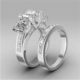 Wholesale Turkish Engagement Couple Rings Princess Cut Sapphire Women s Three stone Wedding Ring Set High Quality Silver Plated Jewelry