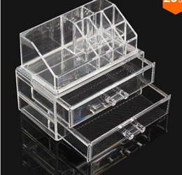 Wholesale 2015 Jewelry rack Acrylic Cosmetic Organizer Drawer Makeup Case Storage Insert Holder Box Mail