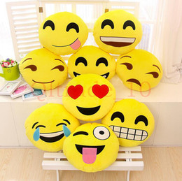 Wholesale 50PCS HHA425 baby pillows Styles Diameter cm Cushion Cute Lovely Emoji Smiley Pillows Cartoon Cushion Pillows Stuffed Plush Toy