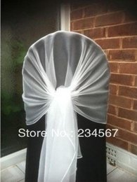 Wholesale white chair cover hood wrap tie back sash bow