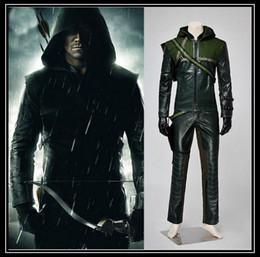 Wholesale Green Arrow super hero Oliver Queen suit men s full set halloween costumes for adult men cosplay clothing uniforms WSJ