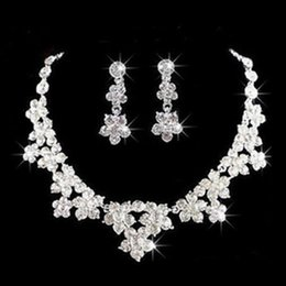 Wholesale Wedding Jewelry Shining New Cheap Sets Rhinestone Bridal Jewelery Accessories Crystals Necklace and Earrings for Prom Pageant Party TS001