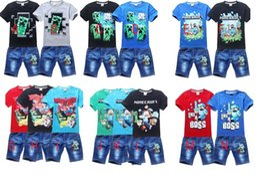 Wholesale 30pcs new fashion summer boys minecraft clothing sets children boys short sleeve clothing Shorts jeans cartoon children clothing