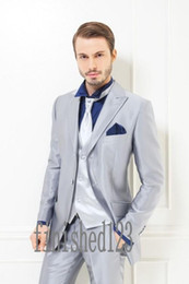 Discount Men Royal Blue Silver Suits | 2017 Men Royal Blue Silver