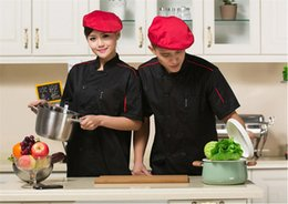 Wholesale Cook breathable jacket sleeved short kitchen professional fast gift for Cook washable comfortable BLACK