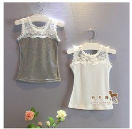 Wholesale 2015 Summer Children Vest Tops Girl Lace Match Cotton Tops Kids Tank Tops Children Clothing Vest Clothing LA6CE