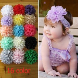 Wholesale PrettyBaby big Chiffon Flower without clips Lace flowers colors diy hair accessories flower charms girls hair accessories the_one