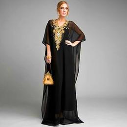 Wholesale New Beaded Short Sleeve Chiffon Long Kaftan Caftan Dubai Fancy Farasha Abaya Jalabiya Black Abaya Islamic Clothing For Women Evening Dresses