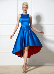 Wholesale Cheap A Line Hi Lo Cocktail Dresses Crew Neck Asymmetric Formal Party Dresses Custom Made Sexy Short Evening Gowns
