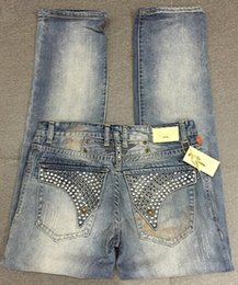 Wholesale Designer robin jeans Denim Mens long flap studded and crystaled jeans Black clear EMBELISHED Blue New Sisze