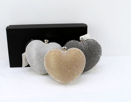 Wholesale Crystal Sweet Bridal Hand Bags High Quanlity Bridal Wedding Bags Heart Shape Evening Clutch Bag Purses