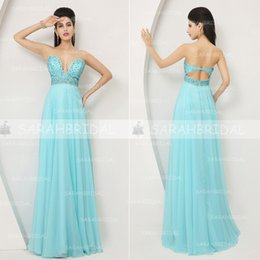 Wholesale 2015 In Stock Glamorous A line Evening Gowns Sexy Cutout Neck Beaded Fitted Waist Prom Dress Chiffon Floor Length Open Back Gowns AJ003