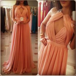 Wholesale Hot Quality Chiffon Bridesmaid Dresses High Neck Sheath Column Beads Pleats Backless Sleeveless Formal Evening Gowns yk1A879