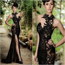Wholesale Noble Black Fashion Slim Prom Dresses High Quality Sequins High Crew Neck Formal Dresses Sexy Side Slit See Through Evening Gowns
