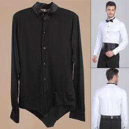 Wholesale 2015 New Arrival Ballroom Dancing Man Ballroom Dance Tops Mens Ballroom Shirts Latin Tango Rumba Dancewear Shirt Top DQ6032