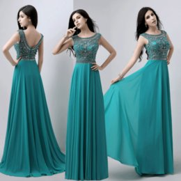 Wholesale Chiffon Sheath Beading Evening Dresses Real Pictures Crystal Bateau Sleeveless Dubai Arabic Dresses Green Middle East Floor Length Prom Gown