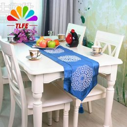tlfe table runner european blue color cotton table cloth cover wedding decoration tea table stand runner chemin de table zq033 inexpensive tea table cloths - Chemin De Table Color