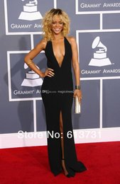 Wholesale Sexy Black Party Gown Dresses Backless Sheath Deep V Neck Black Front Slit Rihanna Elegant Red Carpet Evening Gown Form Dresses