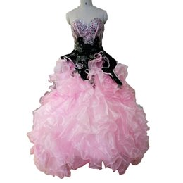 Wholesale Real Photo Pink Quinceanera Dresses Ball Gowns Sweetheart With Crystal Beading Organza Lace Up Sweet Prom Debutante Gowns