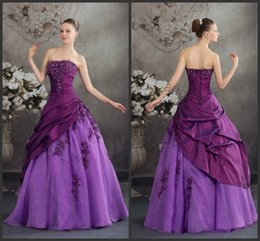 Wholesale Beautiful Purple Quinceanera Dress from Eiffelbride with Sexy Shining Beaded Lace Applique Strapless Elegant Draped Wedding Ball Gowns
