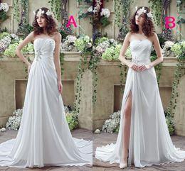 2016 Vestidos de novia baratos Strapless cuentas Crystal Rhinestone Pliegues una línea de longitud del piso de vestidos de novia Vestidos de novia en línea Bestoffers