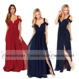 Wholesale 2015 Fashionable A Line Navy Blue Burgundy Cap Sleeve V Neck Long Chiffon Evening Dresses With Side Slit Formal Prom Gowns SD186