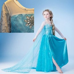 Wholesale Frozen Princess Elsa Anna Dress Kids Girls Long Sleeve Christmas Cosplay Party Dresses Size cm DHL