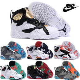 Wholesale Nike Air Jordan VII Children s Shoes Cheap Basketball Shoes Kids Sneakers High Quality New AJ Boys Girls Sport Boots Size C Y