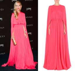 Wholesale Rachel Zoe Inspired Celebrity Dresses A Line salmon pink Valentino cape like runway evening gown